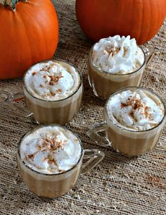 Slow Cooker Spice Pumpkin Lattes - 7 cups hot brewed coffee-Starbucks Pike's Place Roast 1 cup canned pumpkin puree 1 1/2 cups half & half or heavy cream 1/2 tsp. ground nutmeg 1/4 tsp. ground cinnamon 1 tsp. vanilla extract 7 Tbsp. white sugar aerosol whipped cream  nutmeg for garnish In a 5 quart or larger slow cooker, add the coffee, pumpkin, half & half, spices, vanilla & sugar. Stir. Cover and cook on HIGH for 1 hour, or until hot.Stir, and serve topped with whipped cream and nutmeg.