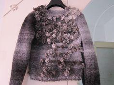 Handmade sweater. Fur Coat, High Neck Dress, Knitting, How To Make, Sweaters, Handmade, Jackets, Dresses, Fashion