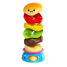 Provide your young child with a fun way to develop her motor skills with this burger stacking toy. Encourage your toddler to stack the colorful pieces, and watch them come tumbling down in a pile as t