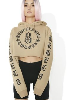 Rebel8 Immortals Crop Hoodie cuz yer forever yung, bb. This dope graphic hoodie features a cropped cut, drawstring hood detail, elongated sleeves, and screenprint brand designs on the chest and sleeves.