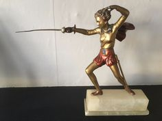 after Lorenzl - art deco period painted spelter Peter Pan Fencer statue figure