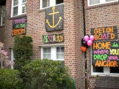 What a great idea for chapters that don't have a house. Signs to hang outside the dorm