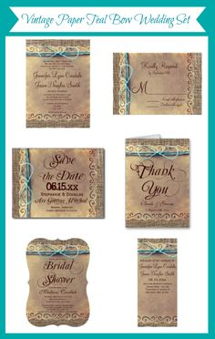 Vintage Paper Burlap Print with Teal Twine Bow Design.  Mix and Match Set at http://www.zazzle.com/rusticcountrywedding/gifts?cg=196429911568941454&ps=120&rf=238133515809110851&tc=Pinterest