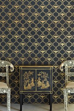 For a dramatic and sophisticated look, but with a touch of humour, Barneby Gates Honey Bee wallpaper would look good in large and small rooms, from formal dining room to cosy loo