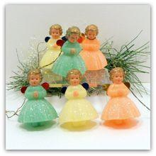 Vintage Christmas Mica Angel Ornaments Metal Wings Pastels x 6 Germany w/ Box