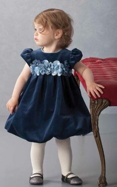 Tween Navy Velvet and Sequin Holiday Dress Preorder 7 to 16 Years