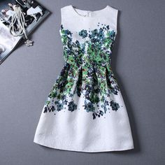 Retro Jacquard Printing Sleeveless Dress
