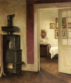 Carl Vilhelm Holsøe - Interior with a Stove and a View