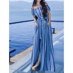 Blue Stripe Off Shoulder Button Up Tie Waist Maxi Beach Dress (€29) ❤ liked on Polyvore featuring dresses, blue off shoulder dress, off the shoulder dress, beach maxi dress, striped off the shoulder dress and blue striped dress
