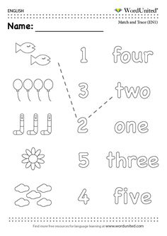 Count in English (1-5) - WordUnited #numbers#read#count#match#trace#EFL#numeracy#ESL#kids#parenting#fun#WordUnited#English#earlyyears#worksheet