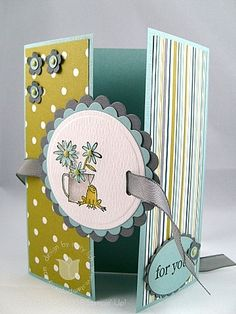 Stampin up frog gate card open
