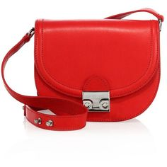 Loeffler Randall Leather Saddle Bag (7 760 UAH) ❤ liked on Polyvore featuring bags, handbags, shoulder bags, apparel & accessories, flame, saddle bags, real leather handbags, red leather handbags, kiss-lock handbags and red leather purse