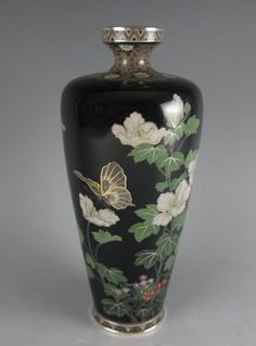 Cloisonne Vase with Butterfly Mid Foliage