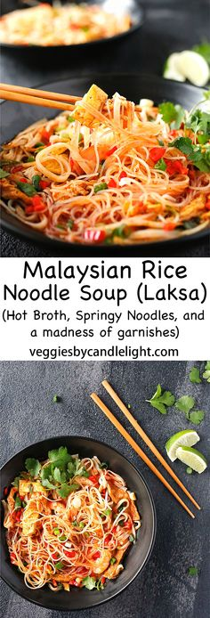 Malaysian Rice Noodle Soup (Laksa) - Sweet, spicy and fragrant. A happy contrast of hot broth, springy noodles and a madness of garnishes Veggie Noodles, Rice Noodles, Rice Noodle Soups, Soup Recipes, Healthy Recipes, Shrimp Paste, Laksa, A Food