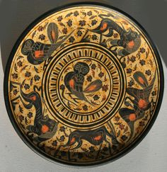 Ancient Greek Artifact Terracotta Plate originating from the Archaic period 430 B.C  Animal Characters Goat Swan and Owl