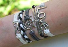 Antique Silver Bracelet, Love Bracelet, Sailor Bracelet, Infinity Bracelet