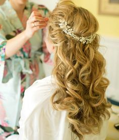 Long Curly Wedding Hairstyles with Headband