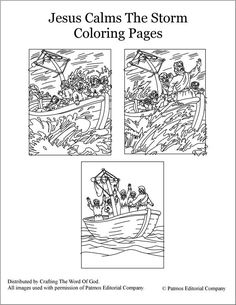 Jesus Calms the Storm coloring sheet. Easy to download and