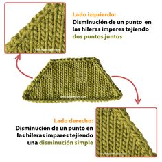 Guía completa para hacer disminuciones al tejer en dos agujas o palitos: disminución simple, tejer dos puntos juntos... cuál es la diferencia??  También las disminuciones dobles Cable Knitting Patterns, Baby Cardigan Knitting Pattern, Knitting Stiches, Crochet Stitches, Baby Knitting, Crochet Patterns, Free Crochet, Knit Crochet, Crochet Hats