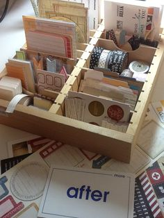 #papercraft #organization for #ProjectLife from an old cassette case/rack via The Road to Somewhere