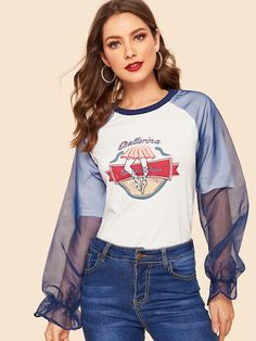 To find out about the Mesh Raglan Sleeve Letter Print Tee at SHEIN, part of our latest T-Shirts ready to shop online today! Animal Print Tees, Latest T Shirt, Mellow Yellow, Printed Tees, Diy Clothes, Remake Clothes, Refashion, Types Of Sleeves, Fashion News