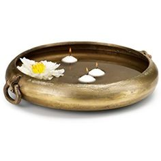 "Serene Spaces Living Antique Brass Handi Bowl, Large – Traditional India Style Bowl Measures 16.5"" in Diameter, 4"" Tall -- Continue to the product at the image link. (This is an affiliate link) #DecorativeAccessories"