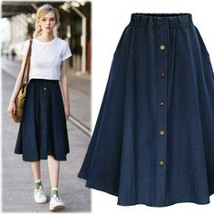Cheap fashion long skirt, Buy Quality long fashion skirts directly from China long skirt Suppliers: Fashion Spring Denim Skirt Button Front Long Skirt Jeans Elastic Waist casual high waist A-line loose women blue navy Korean A Line Skirt Outfits, Denim Skirt Outfits, Denim Skirts, Jean Skirts, Dress Outfits, Dress Shoes, Shoes Heels, Dresses, Midi Rock Outfit