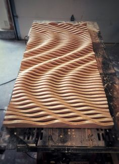 Large Wooden Wall Art, Parametric Sculpture, Wood Sculpture, Modern Art, Abstract Art Large W. This parametric wall wave is a visually intriguing piece of wall art. Comprised of 47 individually cut pieces of cabinet grade oak plywood that spaces apart to Art Sculpture En Bois, Modern Sculpture, Wall Sculptures, Sculpture Ideas, Bronze Sculpture, Wooden Wall Art, Wooden Walls, Wall Wood, Wooden Wall Panels