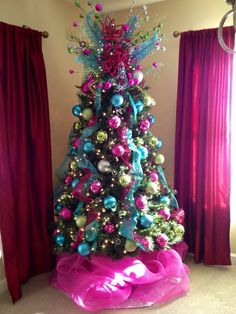 I loved making this Pink, blue, and green Christmas tree!