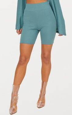 Mineral Blue Rib High Waisted Cycle ShortsWe are obsessing over this mineral blue co-ord. Featuri...
