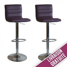Lot de 2 tabourets de bar simili cuir couleur prune confortables et modernes !