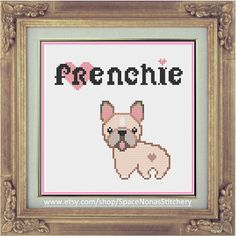 French Bulldog  Cross Stitch Pattern  by SpaceNonasStitchery