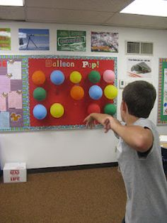 Balloon Pop is a cute idea for students to do at the end of the year serving as a countdown. Each student writes a reward/activity that they would like to do. Then they turn them into the teacher and she puts the doable ones inside a balloon and blows them up. Then the students get to pop one balloon a day resulting in a different activity to count downt the last few days of school!