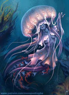Jellyfish by Maxa-art on DeviantArt – fishrecipes Magical Creatures, Fantasy Creatures, Sea Creatures, Mermaid Drawings, Mermaid Art, Dark Fantasy, Fantasy Art, Jellyfish Art, Mermaids And Mermen