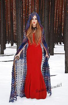 "Gothic vampire crochet  lace cape  ""The Twilight Saga. My interpretation"" in violet, amethyst, blue, dark blue sheep wool. $1,000.00, via Etsy."