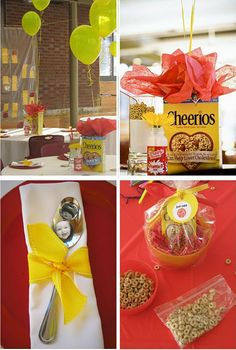 When I first saw this Cheerio Birthday party I thought, what? then I realized it was a 1 year's old party. Light Bulb moment. What a cute idea.