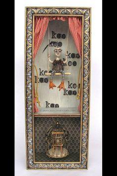 """birdlady"", art, assemblage, art box, mixed media, found objects, freak, freakshow, circus, side show"