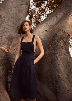 Linen-blend midi dress - Women