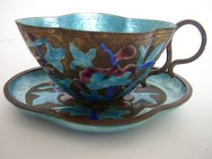 Cloisonne Enamel Asian Teacup and Saucer China by aroundtheclock, $24.50