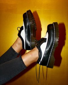 GRUNGE black & white platform Doc Martens Unisex Men US 7 / Women US 8 UK Size 6 L Train Vintage Clothing NYC : Sold Exclusively Online All sales are FINAL