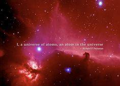 """I, a universe of atoms, an atom in the universe."" - LSD via Richard Feynman (jk)"