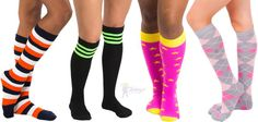 Unique, fun and long socks available in women's, men's and kid's - Styles. Made in the USA Knee High Socks, Cool Socks, American Made, Thigh Highs, Special Gifts, Thighs, Footwear, Gift Ideas, Usa