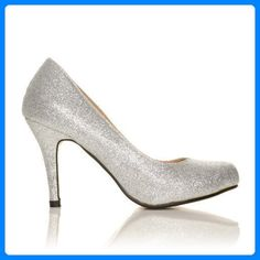 Pearl - High Heels Stöckelschuhe silber Glitter Glitzer Stilettos klassische Pumps - Silber Glitzer, Synthetik, 7 UK / 40 EU - Damen pumps (*Partner-Link)