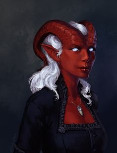 """darantha: """" Zahra from Critical Role. :) Wanted to try and practise red skin, so easy to end up with something way too cartoony looking compared to the rest of my art. x_x Process will be available through my Patreon! (Yes that would be one of..."""