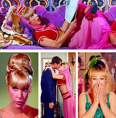 Barbara Eden in various guises in 'I Dream of Jeannie'. Created as a response to the huge success of Bewitched, when it first aired, the show infuriated Elizabeth Montgomery because of its many similarities to her show. Produced by Screen Gems (also responsible for Bewitched), the show originally aired from September 1965 to May 1970.