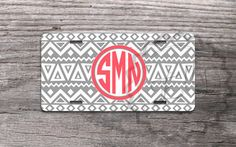 Front License Plate Gray Aztec pattern with Coral monogram personalized car tag, vanity license plate - 310 from MonogramCase on Etsy. Saved to Monogram.