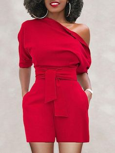 Shop Skew Neck Batwing Sleeve Belted Playsuit right now, get great deals at Joys… Shop Skew Neck Batwing Sleeve Belted Playsuit right now, get great deals at Joyshoetique. Classy Dress, Classy Outfits, Stylish Outfits, Stylish Clothes, Girly Outfits, Look Fashion, Fashion Outfits, Womens Fashion, Fashion Tips