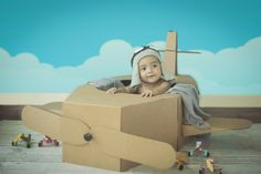 Bebé piloto aviador Avión de cartón  Crochet de aviador  Baby photography