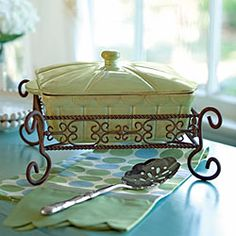 Hyacinth Covered Casserole: Square & Caddy. From Willow House. $74.96