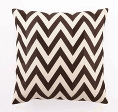 """""""Zig Zag"""" Embroidered Linen Pillow, Brown, 20"""" x 20"""""""